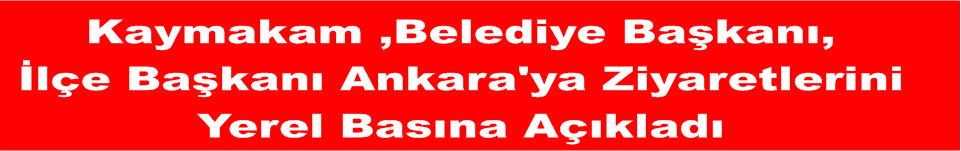 Kaymakam ,Belediye Başkanı, İlçe Başkanı Ankara'ya Ziyaretlerini Yerel Basına Açıkladı.